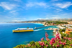 View of mediterranean resort, Nice, Cote d'Azur, France. french riviera