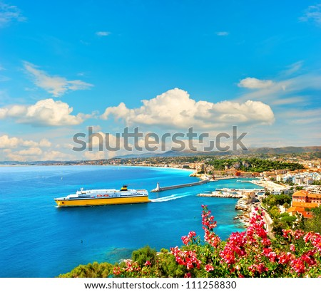 View of mediterranean resort, Nice, Cote d'Azur, France. French riviera