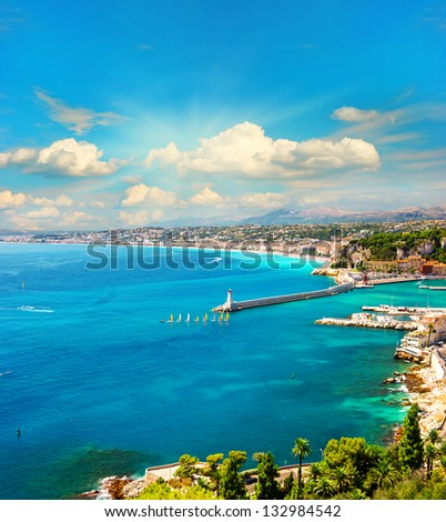 view of mediterranean resort, Nice, Cote d Azur, France. french riviera. turquoise sea and perfect sunny blue sky