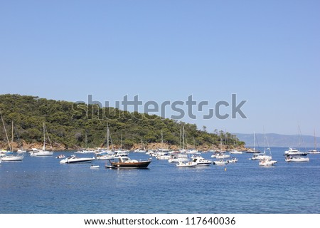 View of mediterranean sea from Port Cros national park island near Toulon, south of France.