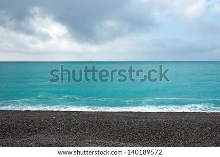 View of Mediterranean sea in Nice, France