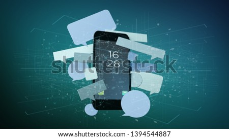 View of Messages bubbles surrounding a smartphone 3d rendering #1394544887