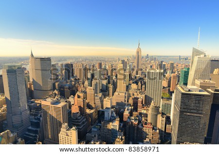 View of midtown Manhattan with landmark buildings in New York City.
