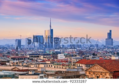 View of Milan`s  business district from Duomo di Milano.