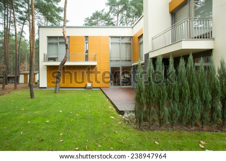 View of modern house from the outside