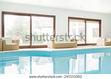 View of modern house with swimming pool