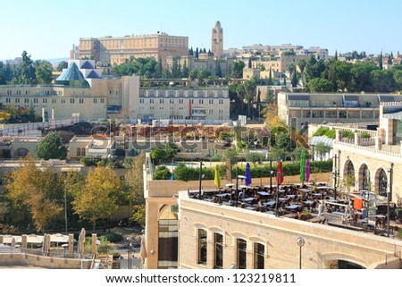 View of modern Jerusalem from the Old City of Jerusalem's wall. Israel