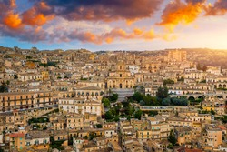 View of Modica, Sicily, Italy. Modica (Ragusa Province), view of the baroque town. Sicily, Italy. Ancient city Modica from above, Sicily, Italy