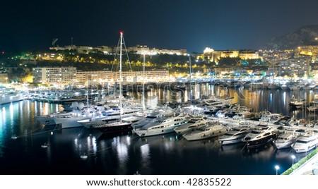 View of Monaco harbour, Monte Carlo in Monaco at night