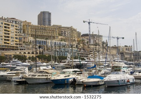 View of Monaco, Monte Carlo: Yachts in the seaport