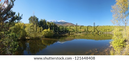 view of Moncayo peak. With an altitude of 2314 meters is the highest peak in the province of Zaragoza, Parque Natural de la Dehesa del Moncayo, Zaragoza, Aragon, Spain
