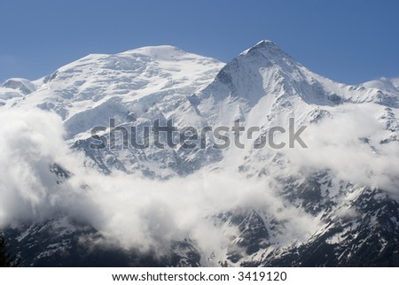 View of Mont Blanc mountain range from Aiguille Du Midi in Chamonix
