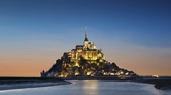 View of Mont saint Michel in Normandy, France