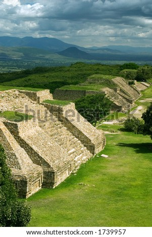 View of Monte Alban in Oaxaca, Mexico