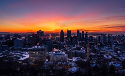 View of Montreal, Quebec, Canada, a frigid morning