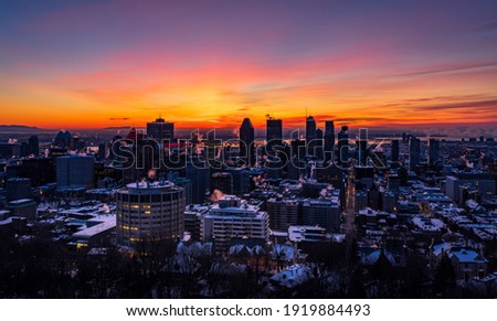 View of Montreal, Quebec, Canada, a frigid morning Foto stock ©