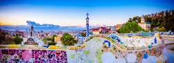 View of mosaic tile and Barcelona cityscape in park Guell at sunrise Spain