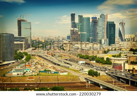 View of Moscow and a business center Moscow-City, highways. photo tinted in yellow