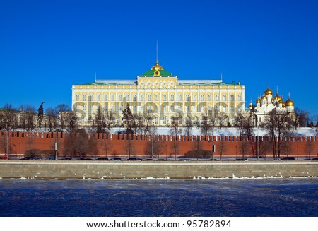 View of Moscow Kremlin in winter day. Russia