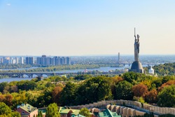 View of Motherland Monument and the Dnieper river in Kiev, Ukraine. Kiev cityscape