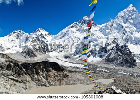 View of Mount Everest Summit in Himalaya Mountains, Nepal. Summer landscape and blue sky.