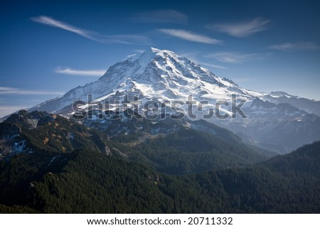 View of Mount Rainier from a distance