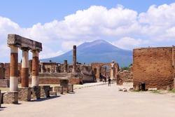 View of Mount Vesuvius through the ruins of the Forum at Pompeii, Italy