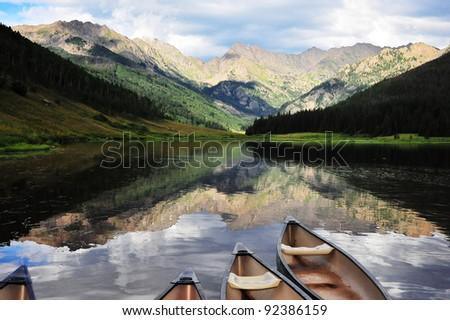 View of mountain lake/Piney Lake, Vail, Colorado