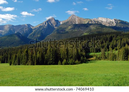 View of mountain peaks in spring time in High Tatras