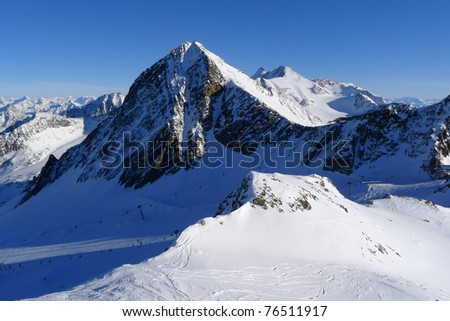 View of mountain range in Stubai ski resort in Austrian Alps