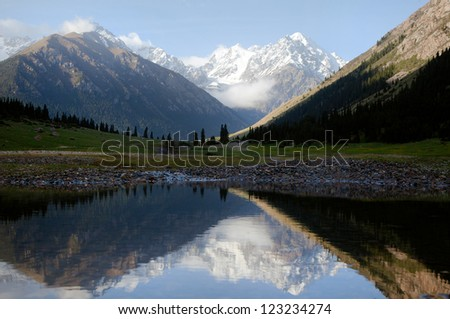 View of mountains reflecting on a lake