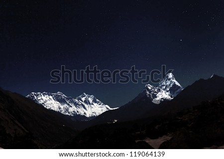 View of Mt. Everest in the Moonlight from the Monastery in the Tengboche at night - Everest region, Nepal, Himalayas