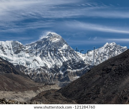 View of Mt. Everest (8848 m) and Lhotse (8516 m) from the Ngozumba Tsho ( the fifth Gokyo lake ) - Nepal, Himalayas