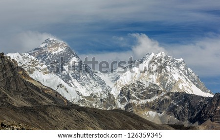View of Mt. Everest (8848 m) and Lhotse (8516 m) from the Ngozumba Tsho ( the fifth Gokyo lake ) - Nepal, Himalayas