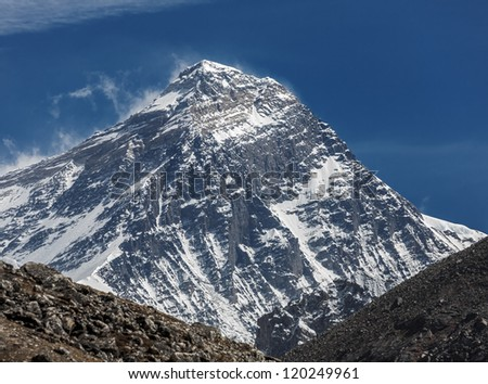 View of Mt. Everest (8848 m) from the fifth lake Gokyo, Nepal, Himalayas