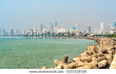 View of Mumbai from Marine Drive - Maharashtra, India #1035558508