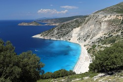 View of Myrtos beach on Kefalonia island, Greece