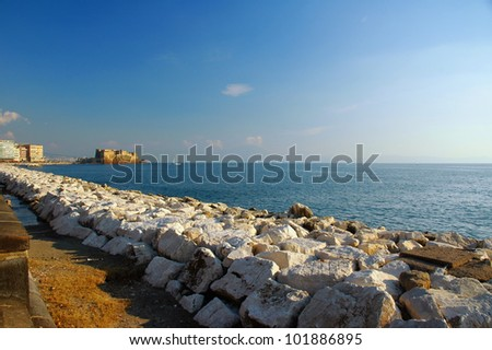 "view of Naples, Italy with, gulf and the fortress ""Castel dell'Ovo"""