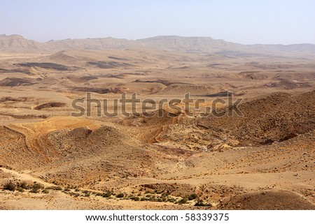 View of Negev desert in the south Israel