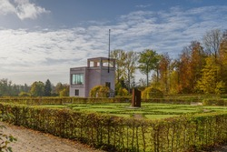 View of Neuwerk baroque garden in Schleswig with  Gottorfer Globushaus, Schleswig-Holstein, Germany, Europe.
