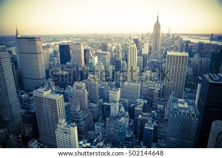 View of New York City across midtown Manhattan looking downtown with many skyscrapers #502144648