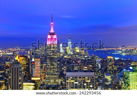 View of New York City at twilight. stock photo