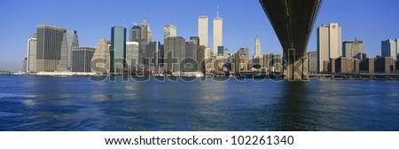 View of New York City from beneath Brooklyn Bridge