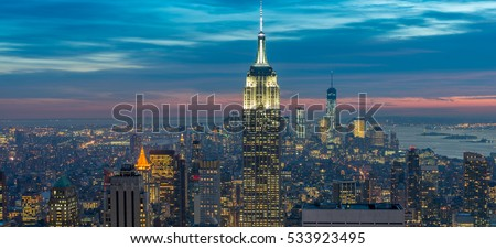View of New York Manhattan during sunset hours stock photo