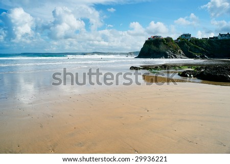 View of Newquay beach in Cornwall, England.