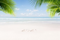 View of nice Christmas and  new year theme  tropical beach