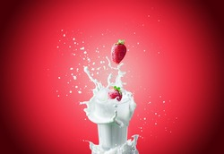 View of nice fresh red strawberry falling down in to the glass milk making a big splash on a red background