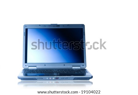 View of nice new laptop on white background
