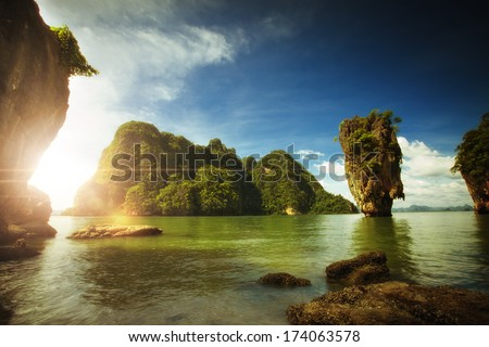 View of nice tropical  island  in summer environment