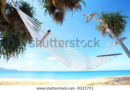 view of nice white  hammock hanging between two palms